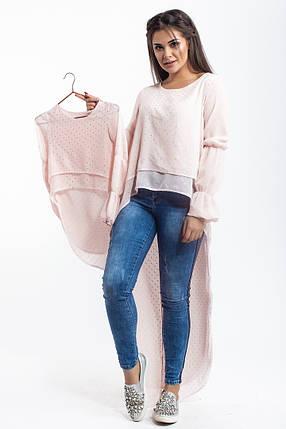 """Асимметричная шифоновая блуза-туника для девочки """"Звездочка"""" с длинным рукавом (4 цвета), фото 2"""