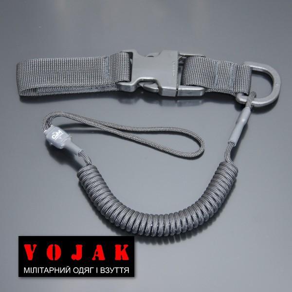 Страховочный шнур комбинированный с D-кольцом фастексом (черный)