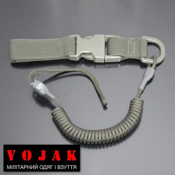 Страховочный шнур комбинированный с D-кольцом фастексом (олива)