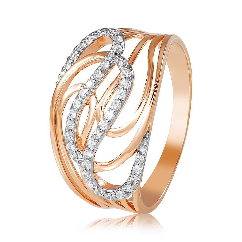 """Золотое кольцо с цирконами """"Виктория"""", комбинированное золото, КД0488 Eurogold"""