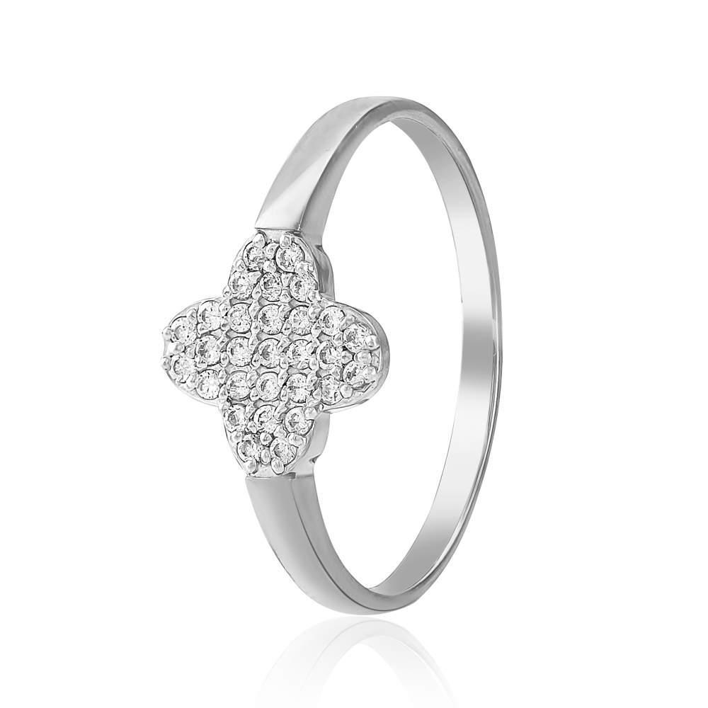 """Золотое кольцо с цирконами """"Клевер"""", белое золото, КД0508/1 Eurogold"""