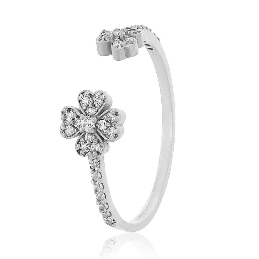 """Золотое кольцо с цирконами """"Цветы"""", белое золото, КД0510/1 Eurogold"""