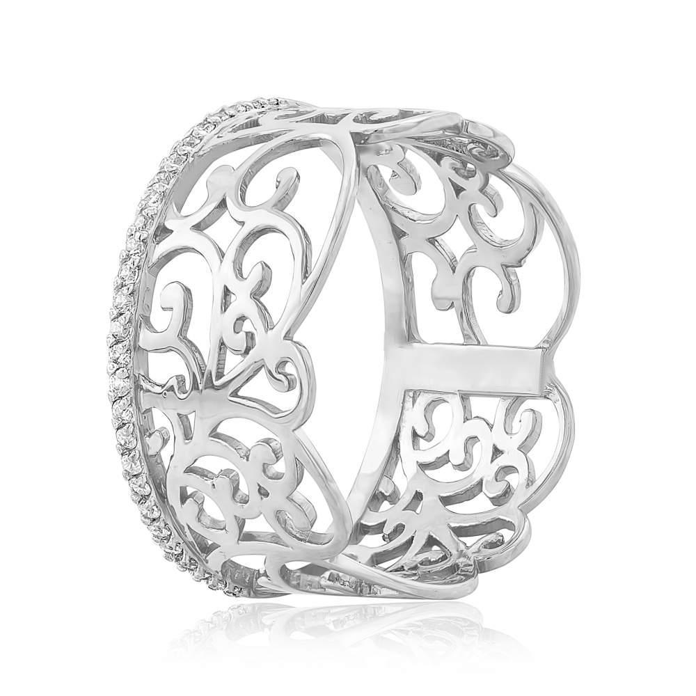 """Золотое кольцо с цирконами """"Юг"""", белое золото, КД0513/1 Eurogold"""