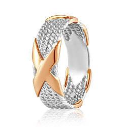 """Золотое кольцо широкое, без камней """"Икс"""", комбинированное золото, КД0520 Eurogold"""
