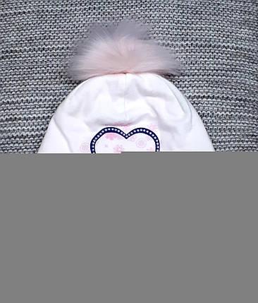 Шапка детская  на девочку весна-осень белого цвета MAGROF (Польша) размер 46 48, фото 2