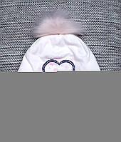 Шапка детская на девочку весна-осень белого цвета MAGROF (Польша) размер 46  48 7b63472196e9a