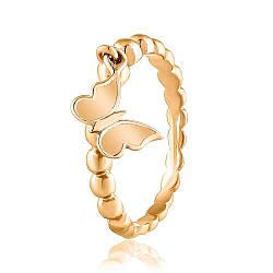 """Золотое кольцо без камней с подвеской """"Бабочка"""", КД0524 Eurogold"""