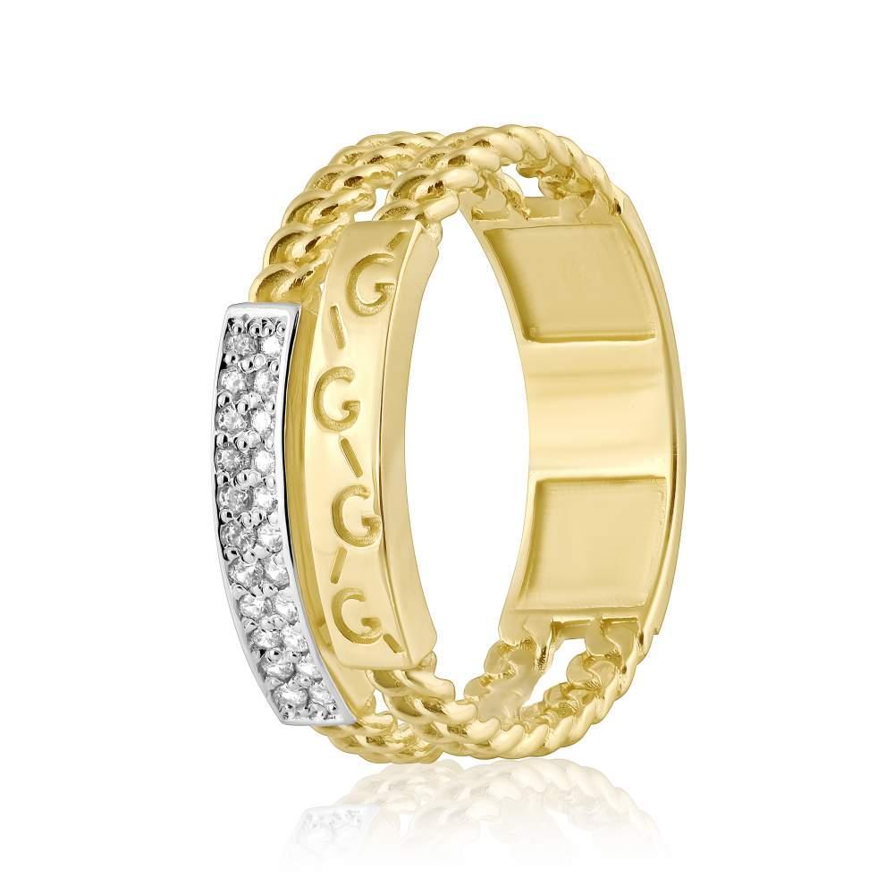 Кольцо из желтого золота с цирконами, КД0529/2 Eurogold