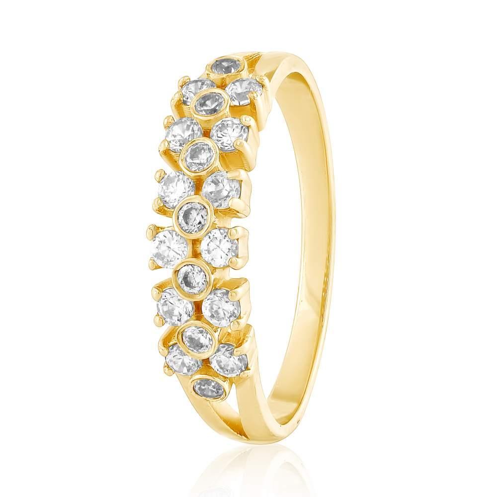 """Кольцо золотое с цирконами """"Маренга"""", желтое золото, КД0531/2 Eurogold"""