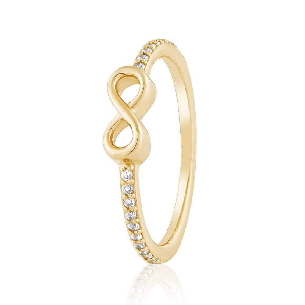 """Золотое кольцо с цирконами """"Бесконечность"""", КД0532/2 Eurogold"""