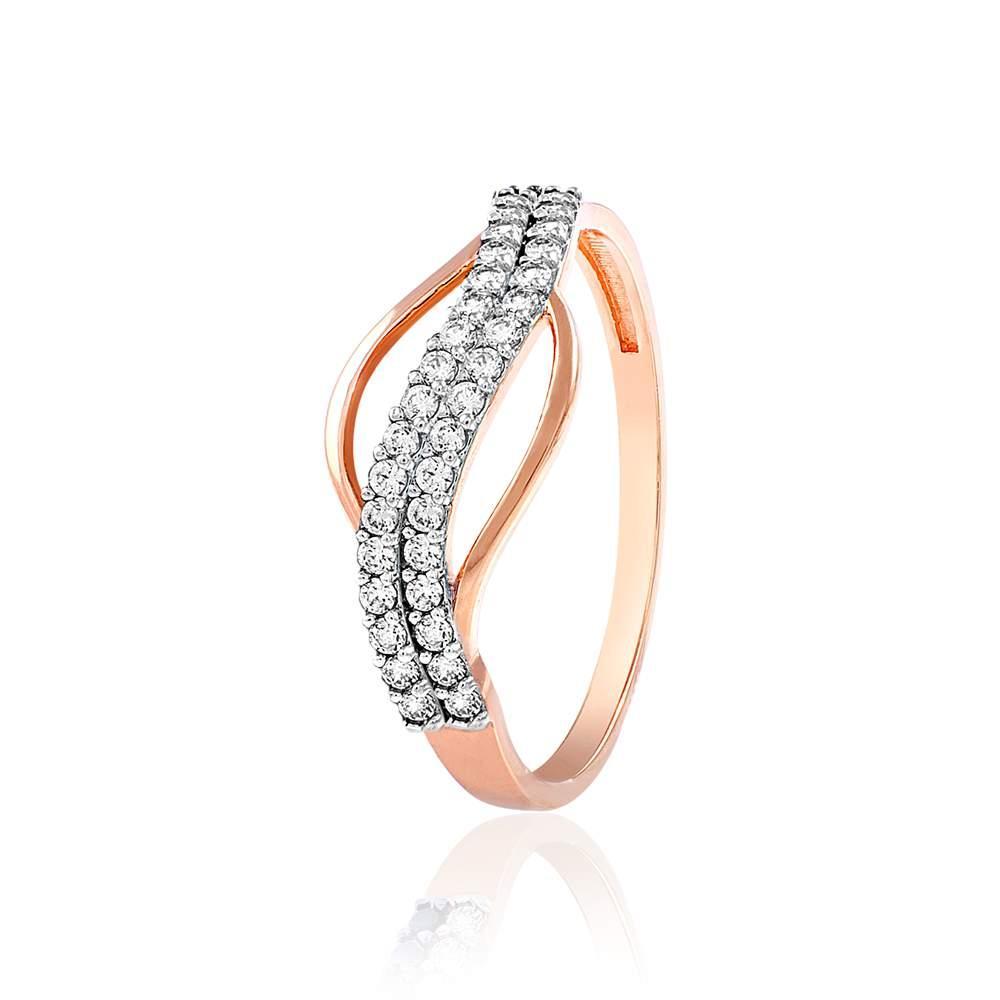 """Золотое кольцо с цирконами """"Классика"""", комбинированное золото, КД2023 Eurogold"""