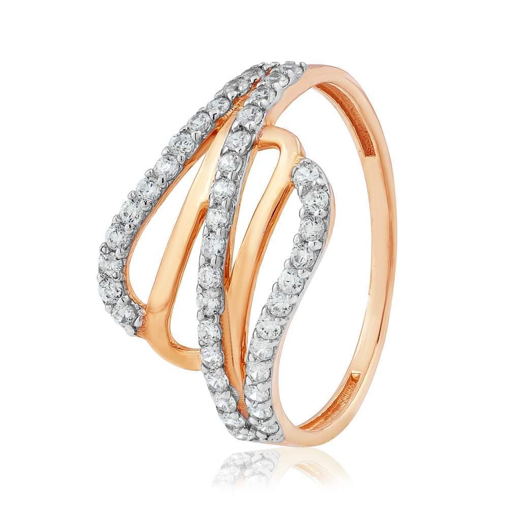 """Золотое кольцо с цирконами """"Контраст"""", красное золото, КД2025 Eurogold"""