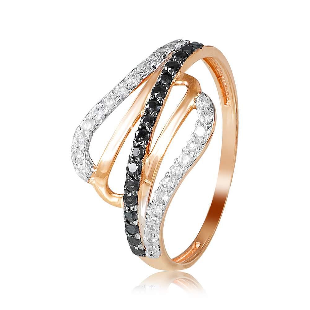 """Кольцо  с белыми и черными цирконами """"Контраст"""", комбинированное золото, КД2025Ч Eurogold"""
