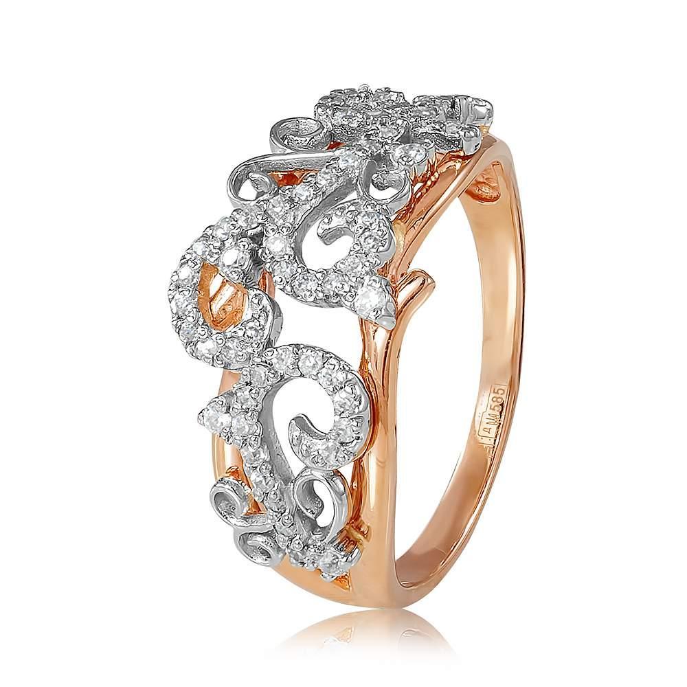 """Кольцо  с цирконами """"Узорное"""", комбинированное золото, КД2032 Eurogold"""