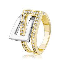 """Золотое кольцо с цирконами """"Тоскана"""", комбинированное золото, КД2042/2 Eurogold"""