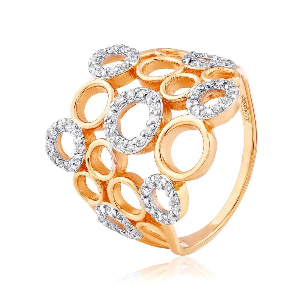 """Кольцо  с цирконами """"Игра"""", комбинированное золото, КД2048 Eurogold"""