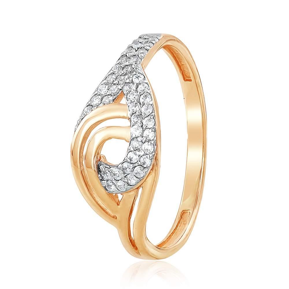 """Золотое кольцо с цирконами """"Вечность"""", КД2053 Eurogold"""