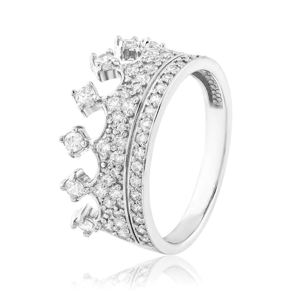 """Золотое кольцо с цирконами """"Корона"""", белое золото, КД2054/1 Eurogold"""