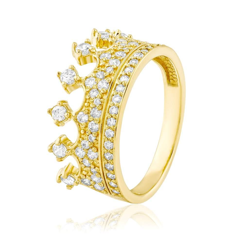 """Кольцо золотое с цирконами """"Корона"""", КД2054/2 Eurogold"""