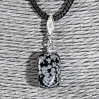 Обсидиан снежный, 16*11 мм., серебро, кулон, 947КЛО