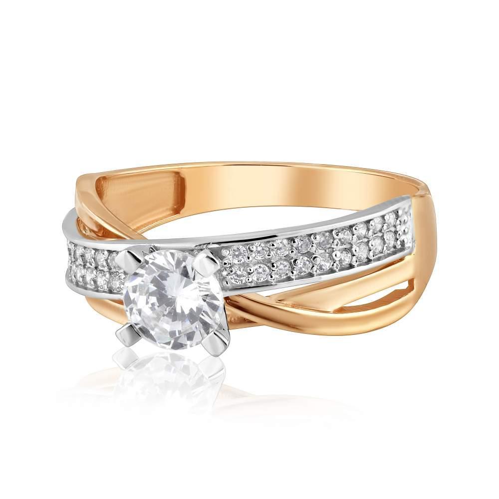 """Золотое кольцо с цирконом """"Эмили"""", КД2062 Eurogold"""
