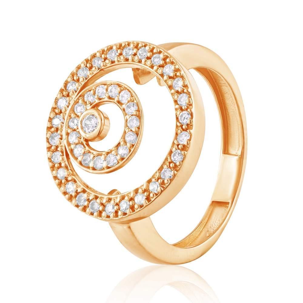 """Золотое кольцо с цирконами """"Золотая спираль"""", КД2064 Eurogold"""