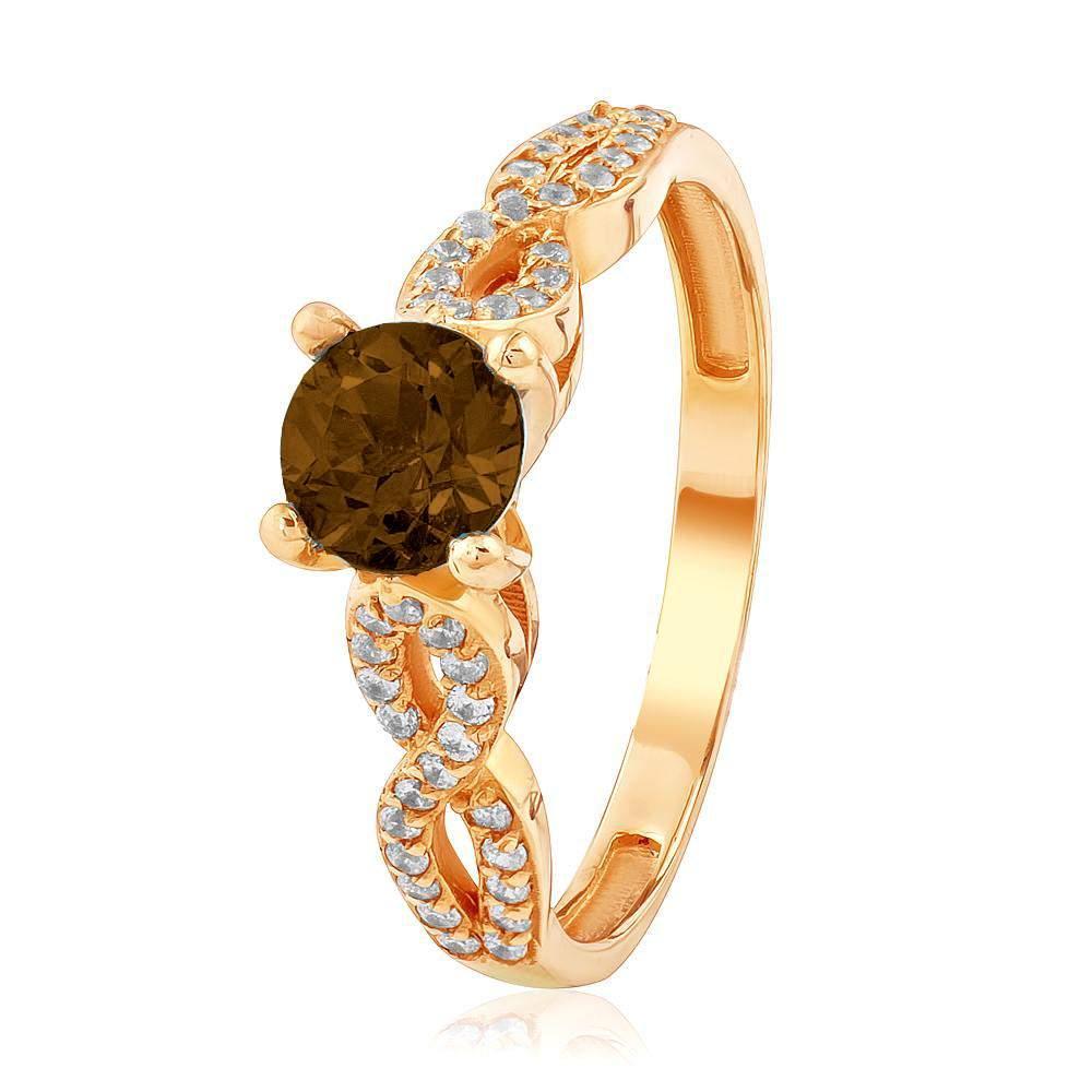 """Золотое кольцо с раухтопазом """"Веста"""", КД4075РАУХТОПАЗ Eurogold"""