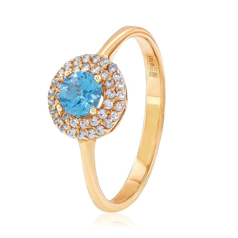 """Золотое кольцо с топазом """"Сандра"""", красное золото, КД4091ТОПАЗ Eurogold"""