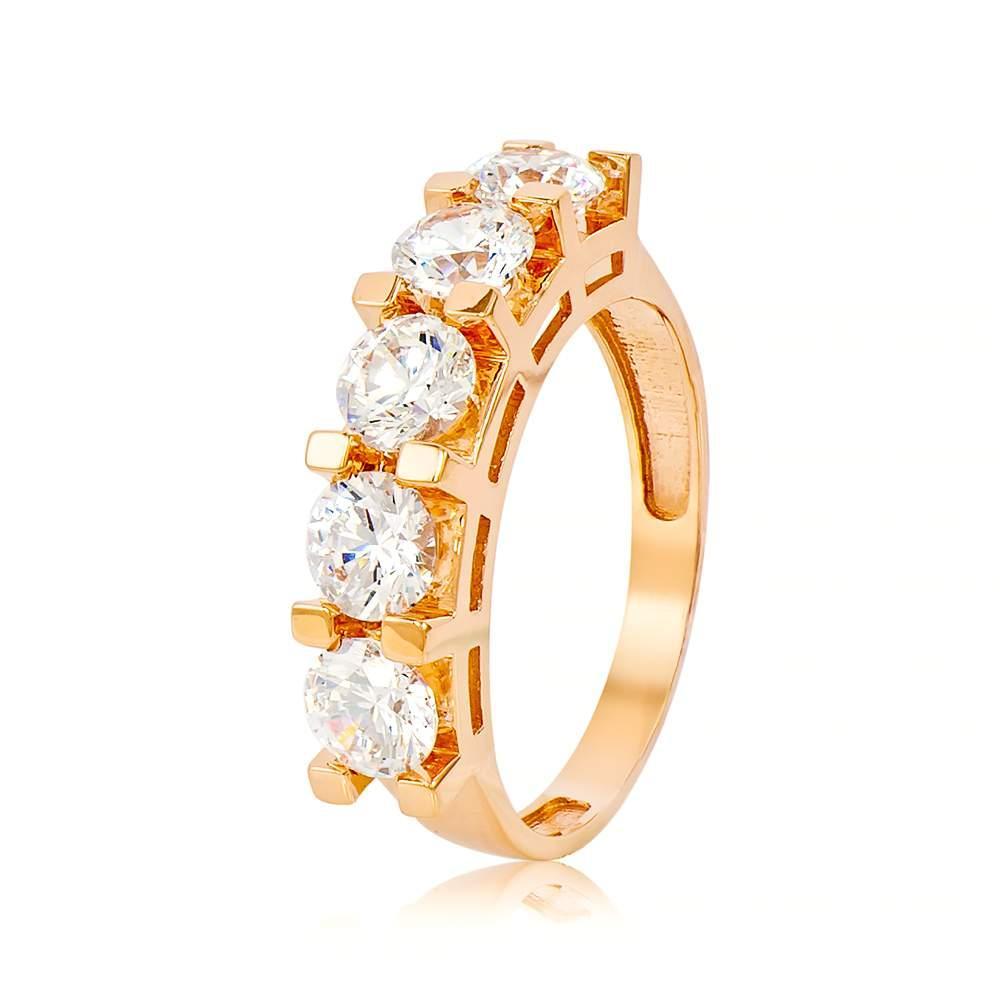 """Золотое кольцо с камнем Сваровски """"Торжество"""", красное золото, КД4097SW Eurogold"""