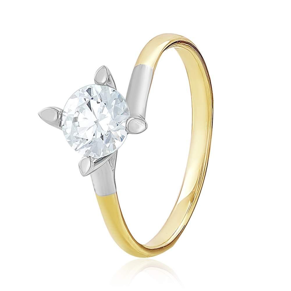 """Золотое кольцо с камнем SWAROVSKI Zirconia """"Изящность"""", комбинированное золото, КД4098/2SW Eurogold"""