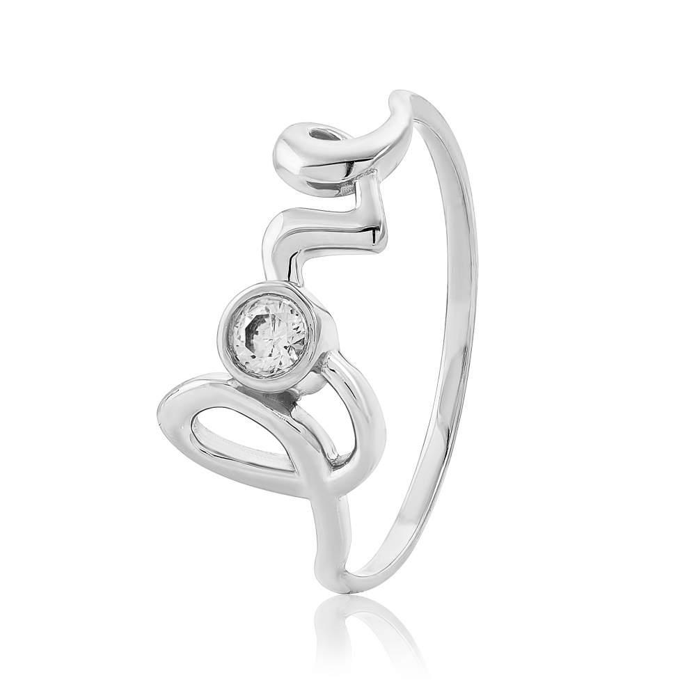 "Кольцо  с камнем SWAROVSKI Zirconia ""Love"", белое золото, КД4139/1SW Eurogold"