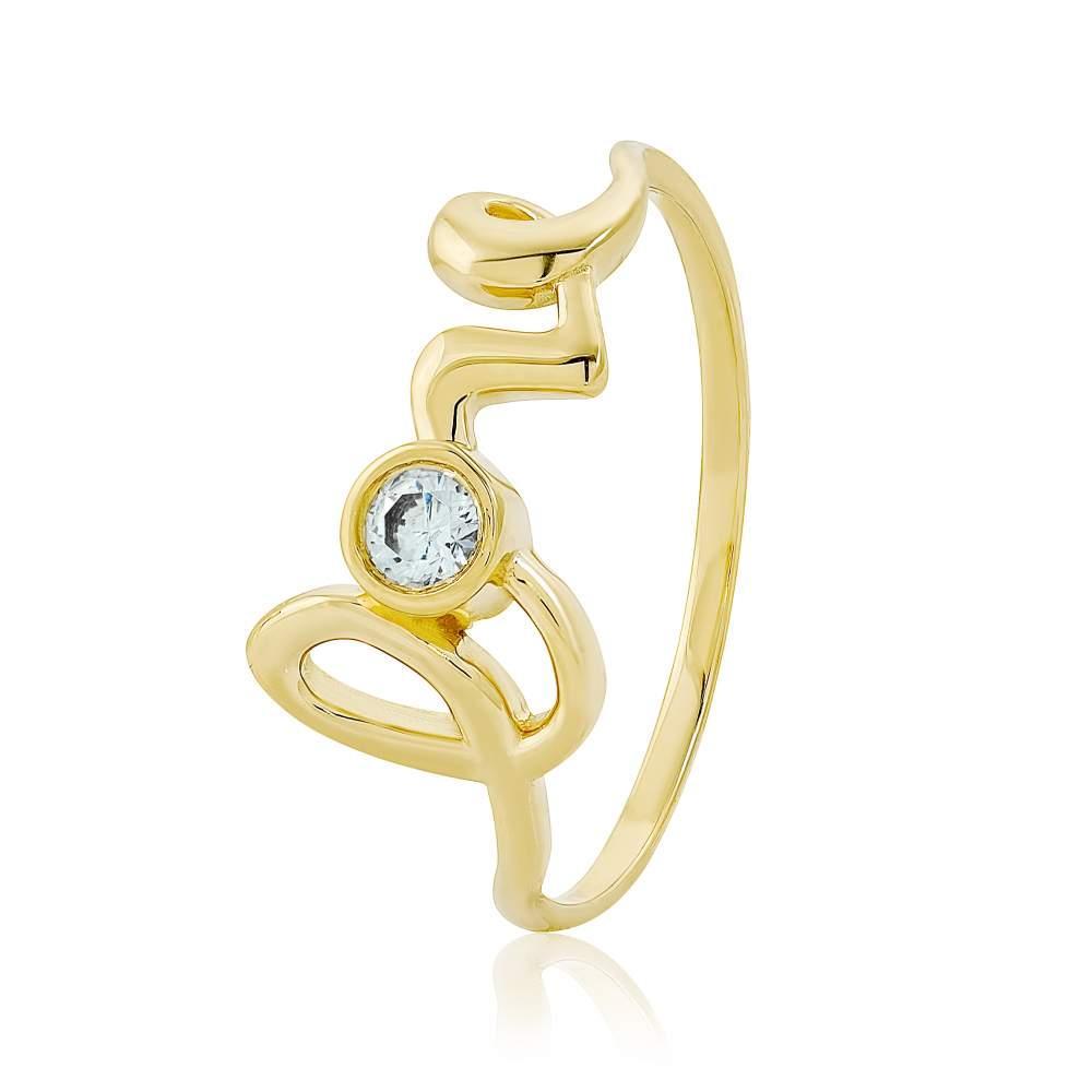 """Золотое кольцо """"Love"""" с камнем Сваровски, КД4139/2SW Eurogold"""