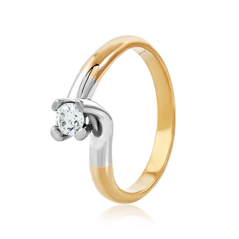 """Золотое кольцо с камнем Сваровски """"Дафна"""", комбинированное золото, КД4146SW Eurogold"""