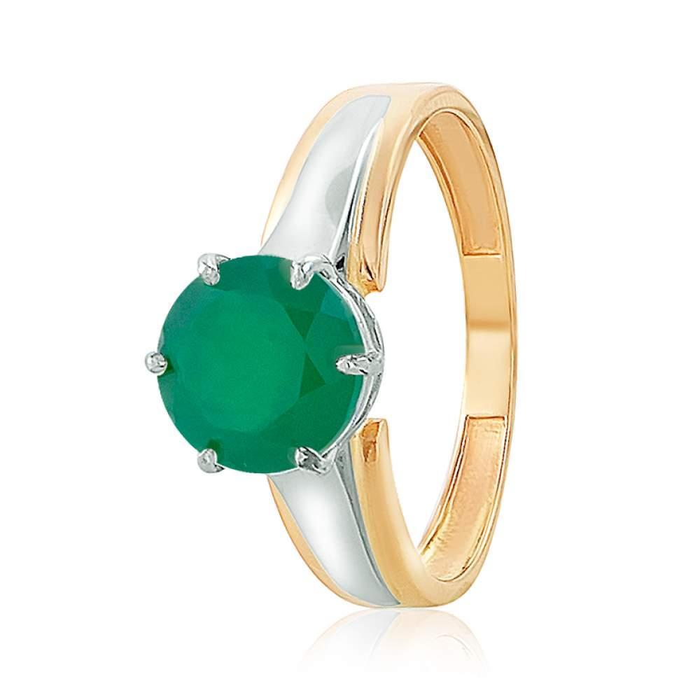"""Кольцо  с зеленым ониксом """"Джулия"""", комбинированное золото, КД4162ОНИКСЗЕЛ edem"""