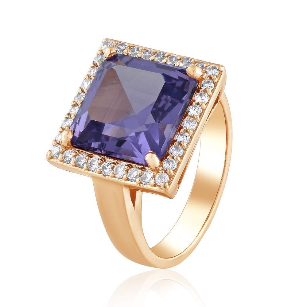 """Золотое кольцо с александритом """"Баронесса"""", красное золото, КД4171КОЛ Eurogold"""