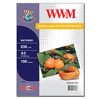 Фотобумага wwm матовая 230г/м кв, a3, 100л (m230.a3.100)