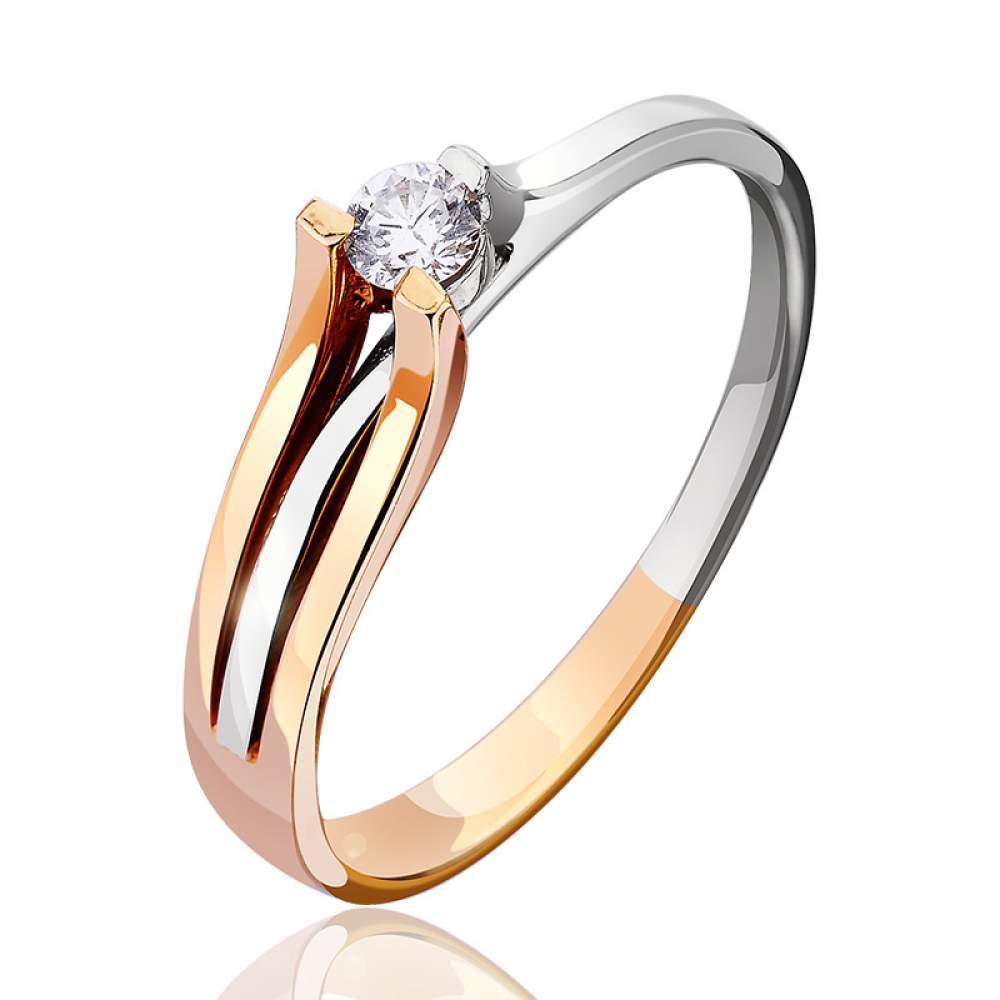"""Золотое кольцо с бриллиантами """"Музыка ветра"""", комбинированное золото, КД7407 Eurogold"""