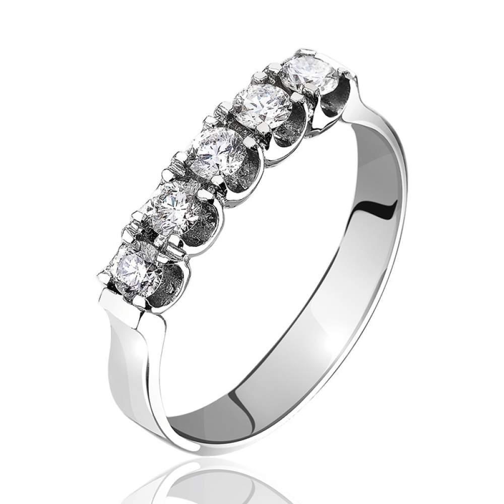 "Кольцо из белого золота с пятью бриллиантами ""Эйфория"", КД7408/1 Eurogold"