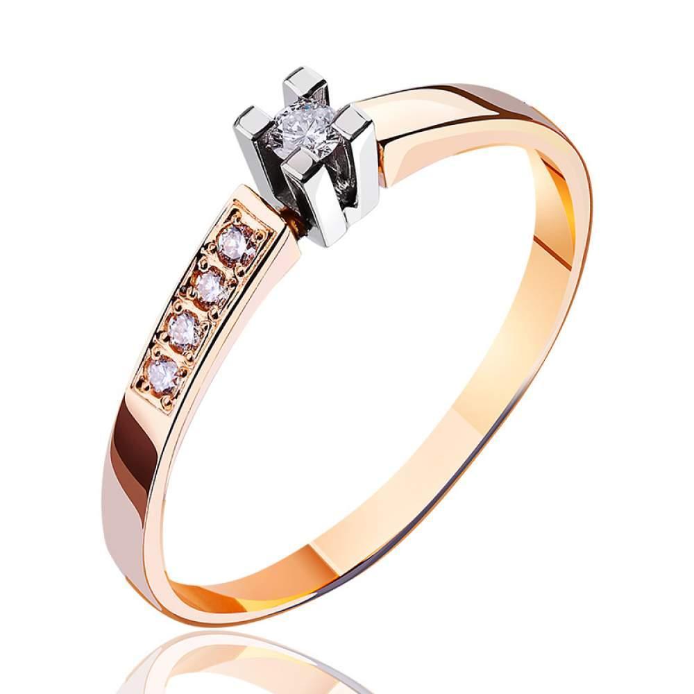 """Золотое кольцо с бриллиантами """"Магия блеска"""", комбинированное золото, КД7411 Eurogold"""