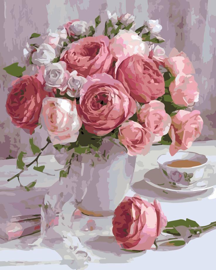 Картина по номерам Розы в пастельных тонах 40 х 50 см (AS0126)