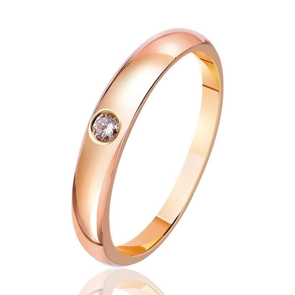 """Золотое кольцо с бриллиантом """"Эмблема красоты"""", красное золото, КД7427 Eurogold"""
