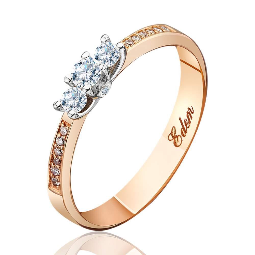 """Золотое кольцо с тремя бриллиантами """"Богема"""", комбинированное золото, КД7429 Eurogold"""