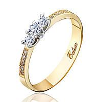"""Кольцо из желтого золота с бриллиантами """"Богема"""", КД7429/2 Эдем"""