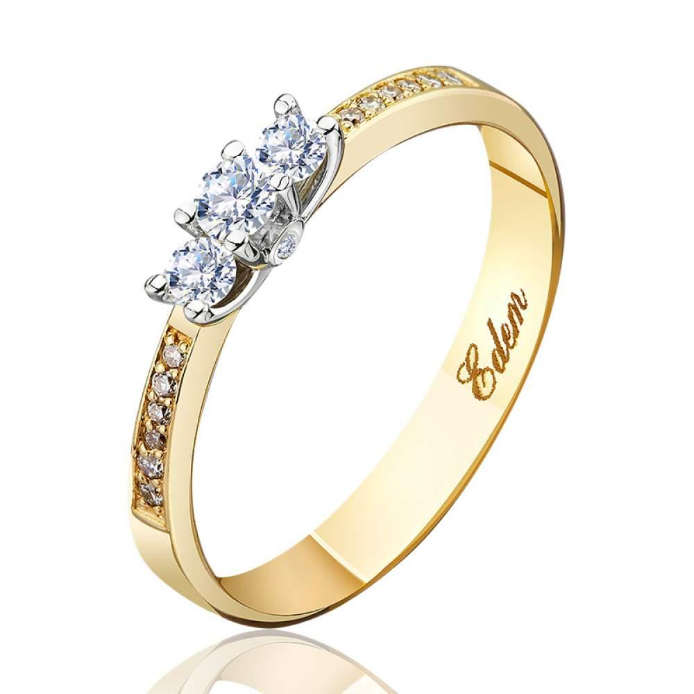 "Золотое кольцо с бриллиантами ""Богема"", КД7429/2 Eurogold"