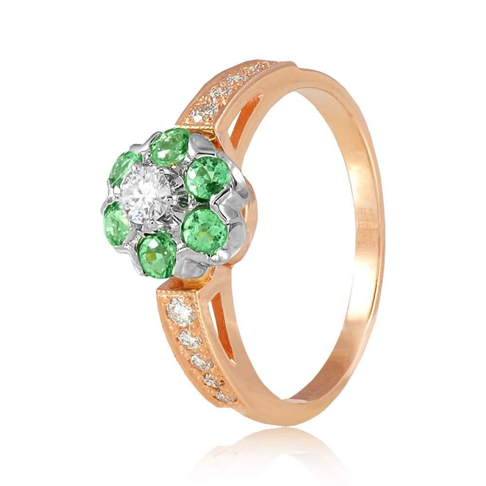 """Золотое кольцо с изумрудами """"Малинка"""", комбинированное золото, КД7432СМАРАГД Eurogold"""