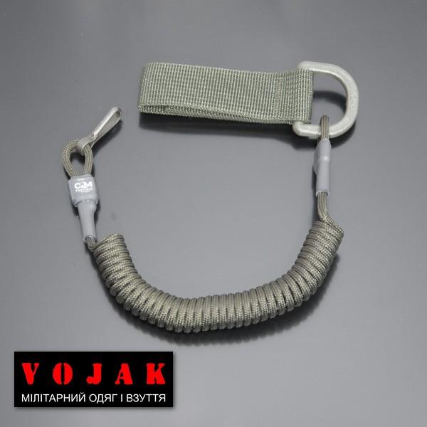 Страховочный шнур под карабины с D-кольцом и карабином (олива)