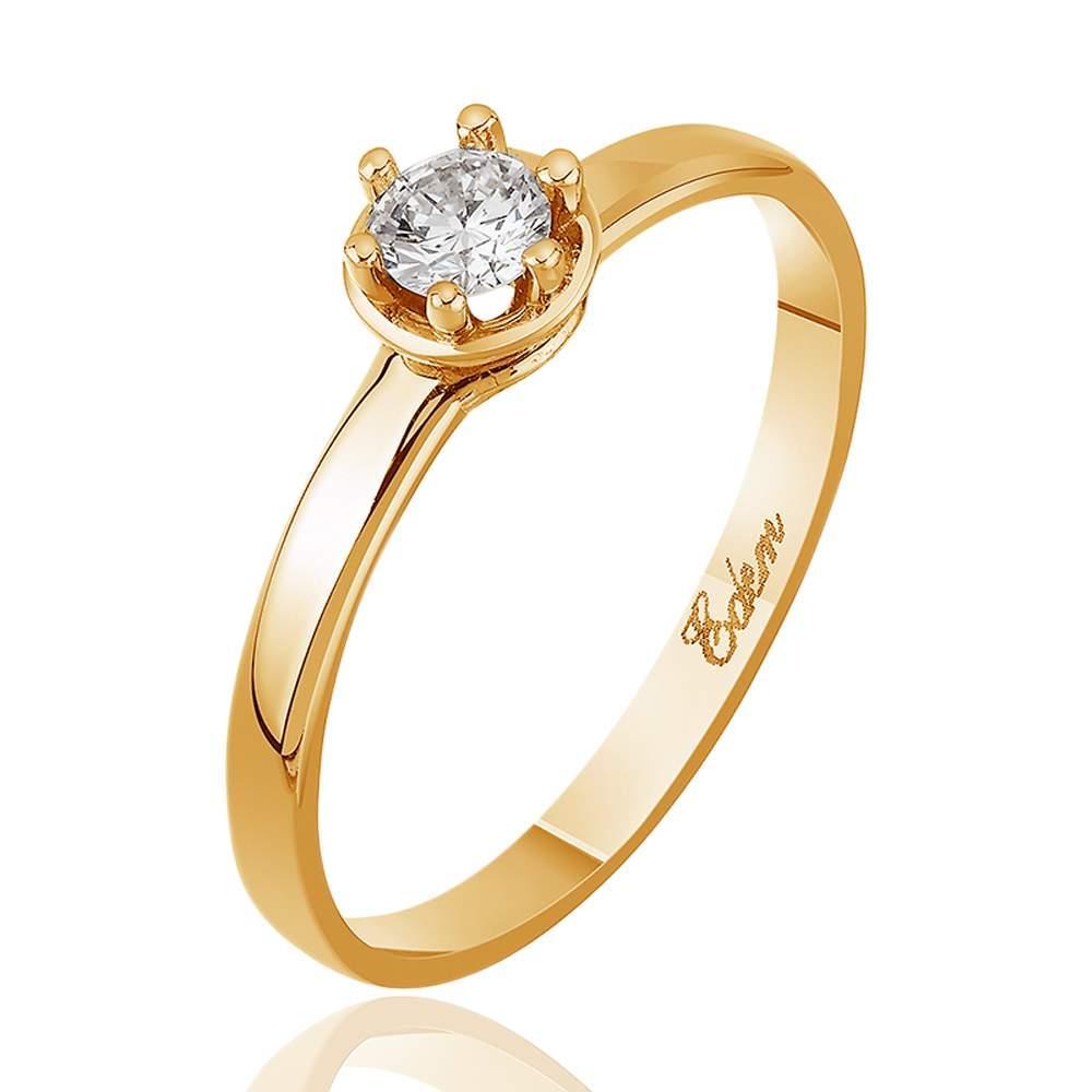 """Золотое кольцо с бриллиантом """"Дамиани"""", красное золото, КД7457 Eurogold"""