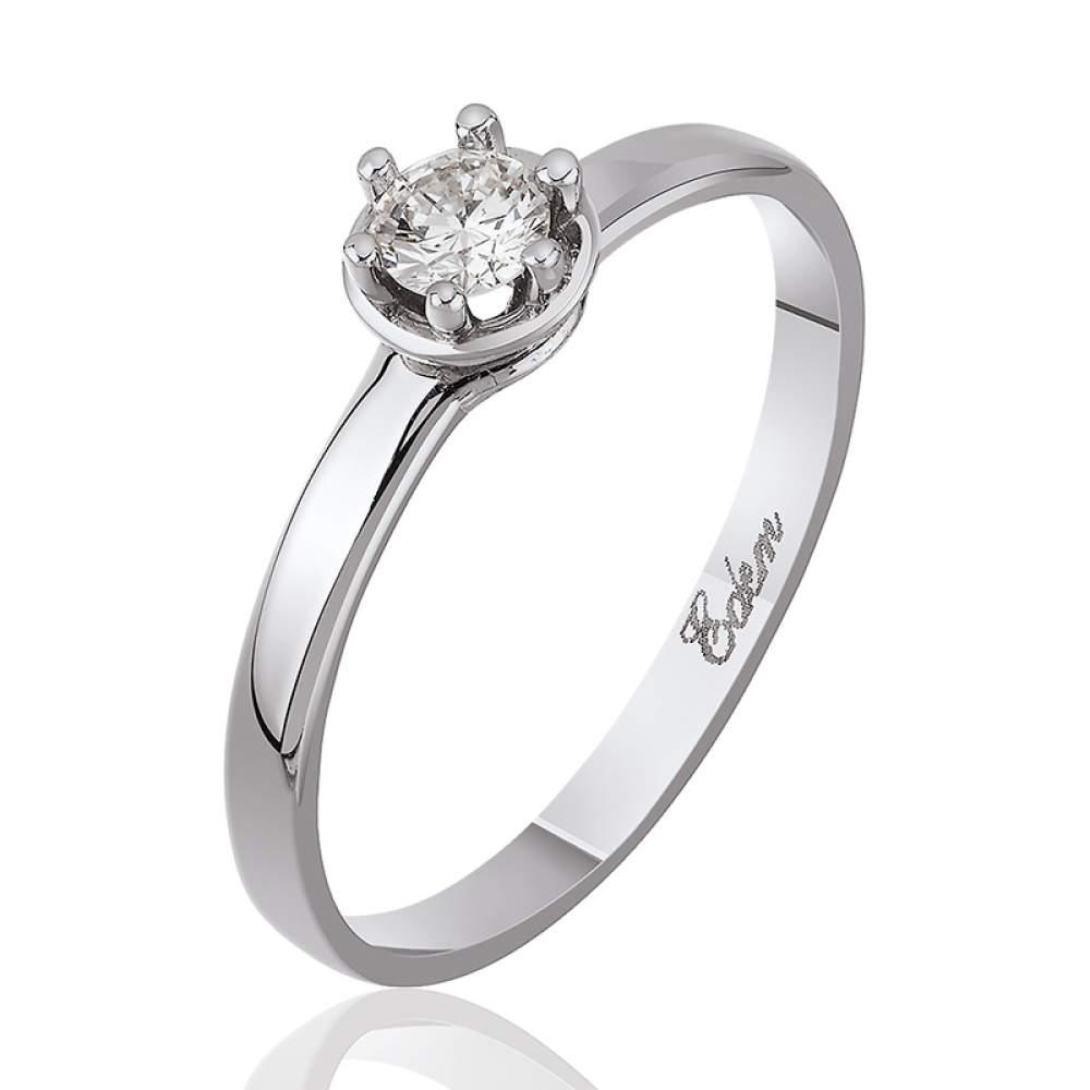 """Золотое кольцо с бриллантом """"Дамиани"""", белое золото, КД7457/1 Eurogold"""