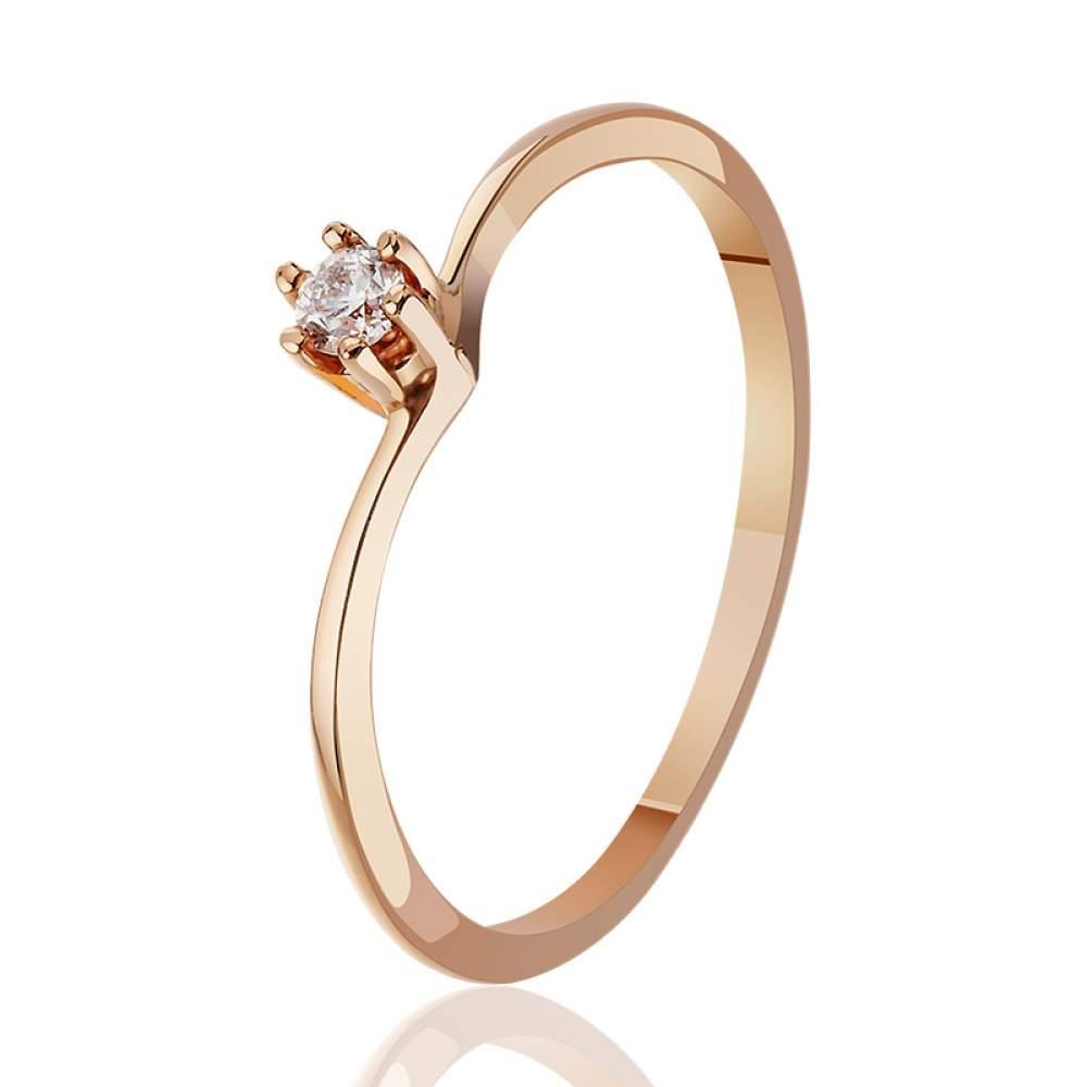 """Золотое кольцо с бриллиантом """"Вдохновение"""", КД7461 Eurogold"""