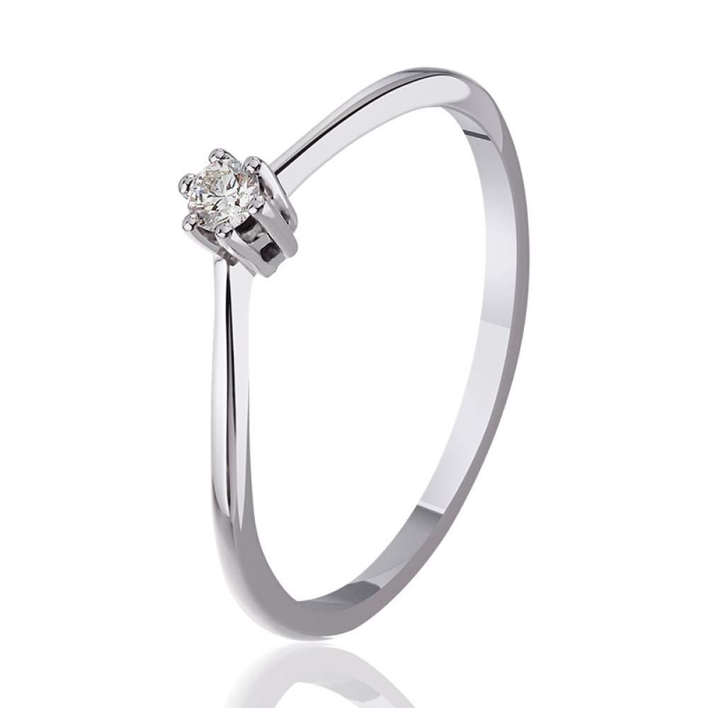 """Кольцо из белого золота с бриллиантом """"Вдохновение"""", КД7461/1 Eurogold"""